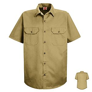 Men 39 s no iron twill short sleeve work shirt working for No iron shirts mens