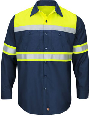 Hi-Visibility Long Sleeve Color Block Work Shirt - Working