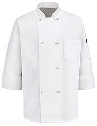 Eight Knot-Button Chef Coat with Thermometer Pocket