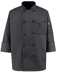 Spun Poly Black Chef Coat