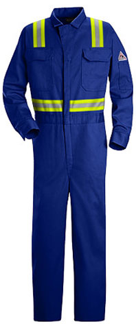 Bulwark Flame Resistant Excel-FR™ Deluxe Contractor Coverall With Reflective Trim