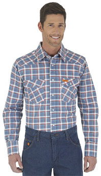 Wrangler® FR Flame Resistant Blue/Red Plaid Western Shirt