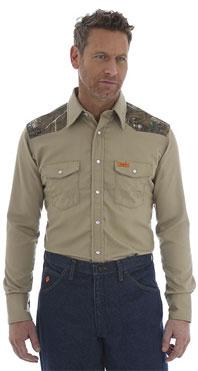 Wrangler® FR Flame Resistant Khaki/Realtree Xtra Western Shirt