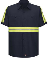 Enhanced visibility cotton work shirt working class clothes for Red kap 100 cotton work shirt