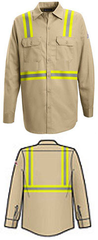 Bulwark Flame Resistant Excel-FR™ Button Front Work Shirt with Reflective Trim