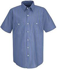 Red Kap Men's Industrial Stripe Poplin Work Shirt