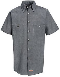 Red Kap Men's Micro-Check Short Sleeve Uniform Shirt