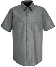 Red Kap Men's Industrial Stripe Poplin Work Shirt