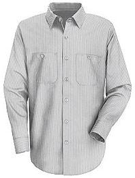 Red Kap Men's Long Sleeve Striped Dress Uniform Shirt