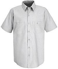 Red Kap Men's Poplin Striped Short Sleeve Dress Uniform Shirt