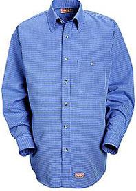 Red Kap Men's Mini-Plaid Uniform Shirt