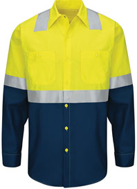 Hi-Visibility Long Sleeve Color Block Work Shirt - Type R, Class 2
