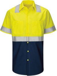 Hi-Visibility Short Sleeve Color Block Work Shirt - Type R, Class 2
