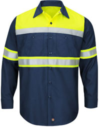 Hi-Visibility Long Sleeve Color Block Work Shirt - Type O, Class 1