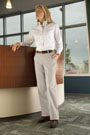 Women's Plain Front Cotton Casual Pant